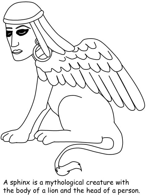 Sketch Sphynx Of Egypt Coloring Pages Sphinx Coloring Page