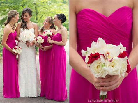 26 bridesmaids and flowers pink fuschia navy fuchsia and ivory wedding color