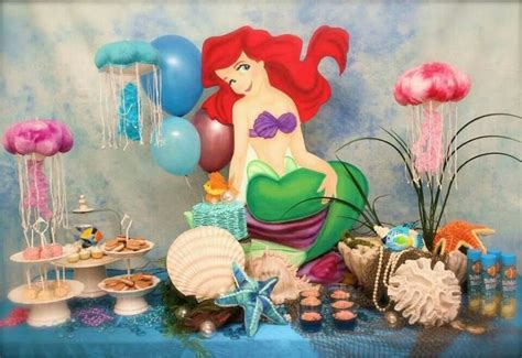 Ariel Table Decorations by Lil Mermaid Table Decor Mermaid Table And Birthdays
