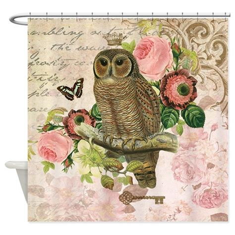 vintage french shabby chic owl shower curtain by designsbyheathermyers1