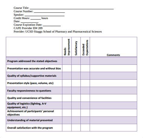 program evaluation template sle program evaluation form 11 free sles