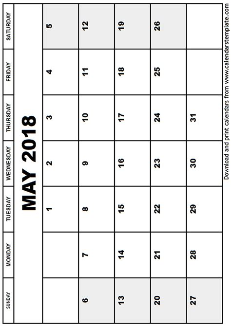 printable calendar 2018 may may 2018 calendar template