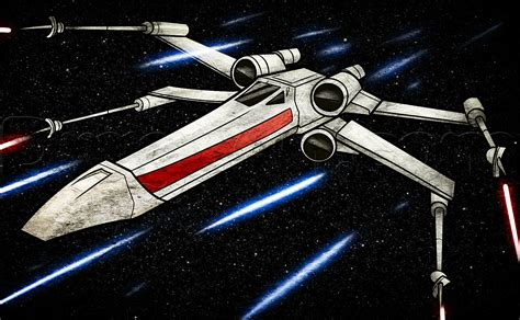 how to draw an x wing x wing starfighter step by step