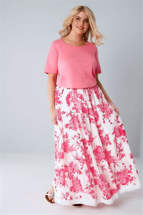 Dini Ovrall Maxi Fit L Besar Pl pink white floral print tiered maxi skirt with lace trim hem plus size 16 to 36
