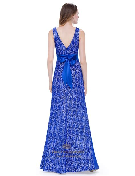 v neck sleeveless length lace evening dress with