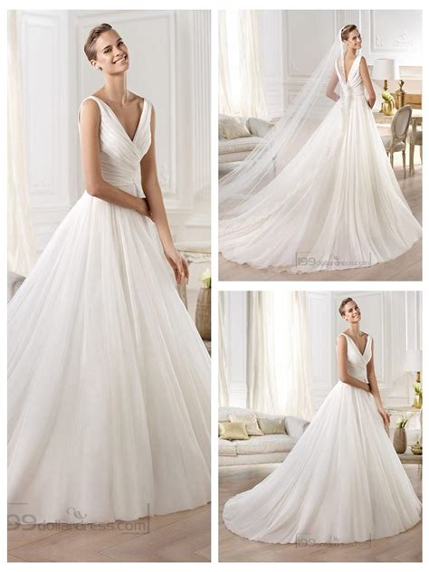 V Neck Wedding Dress by Gorgeous V Neck And V Back Draped Gown Wedding