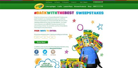 Sweepstakes Period - crayola backwiththebest sweepstakes 5 000 crayola prize pack for the school of