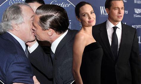 With Brad Pitt And Robert De Niro Brad Pitt Stands By As Kisses Robert De