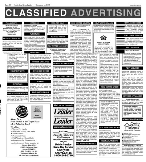 classified section newspaper newspaper job ads exles related keywords newspaper