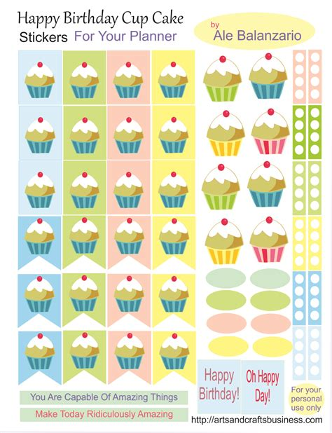 printable stickers for birthday cup cakes stickers free for your planner arts and crafts