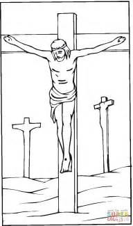 coloring pages jesus crucifixion jesus crucified on the cross coloring page free