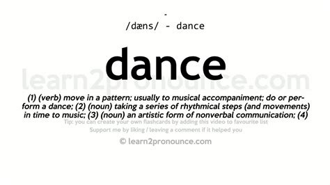 Description Of A Dancer by Pronunciation And Definition