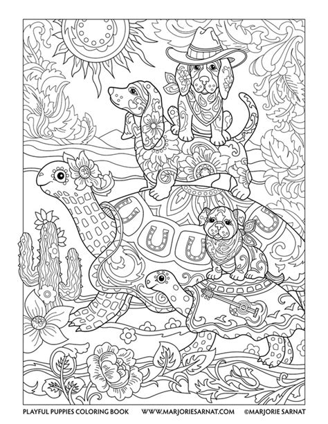 puppies coloring pages for adults playful puppies marjorie sarnat design illustration