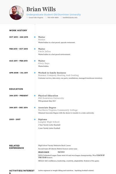 template cv waiter resume exle for waiter resume ixiplay free resume sles