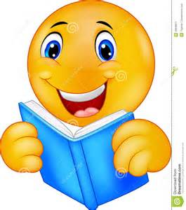 happy smiley emoticon reading book stock vector image