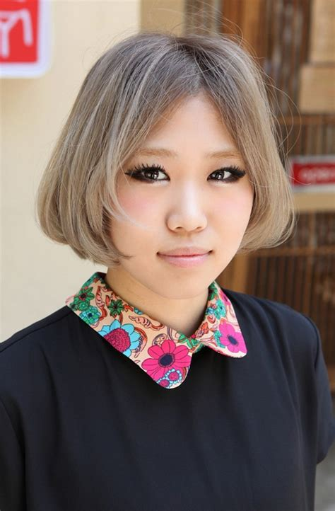 silver hair jaw length japanese hairstyles chin length gray bob cut with cute