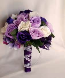 silk flowers for wedding silk purple bridal bouquets package custom for helen
