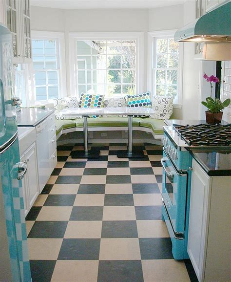 retro style kitchen cabinets diner style kitchen with trendy breakfast nook decoist