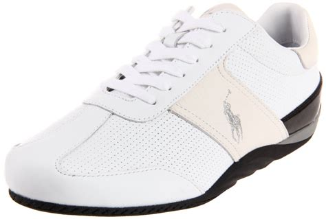 polo ralph mens bentwinds sneaker in white for whtie leather lyst