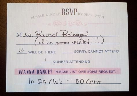 how to fill out rsvp cards for a wedding here s how 10 couples rocked their wedding without a dj