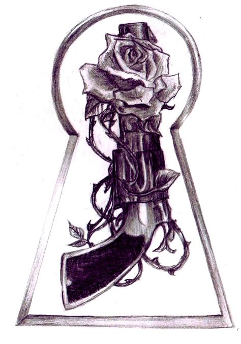 gun tattoos with roses grey and gun design