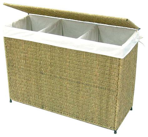 3 Section Laundry Basket by America Basket Company Woven Seagrass Lined 3 Section