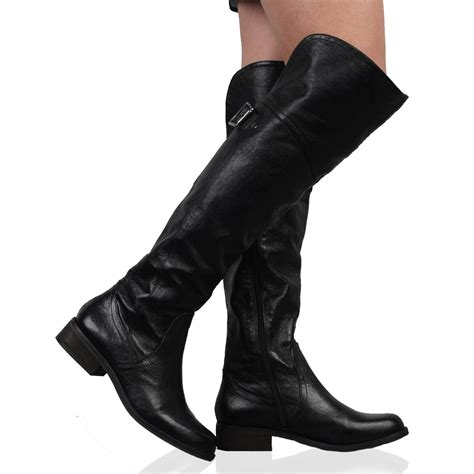 new dune trooper womens black leather casual