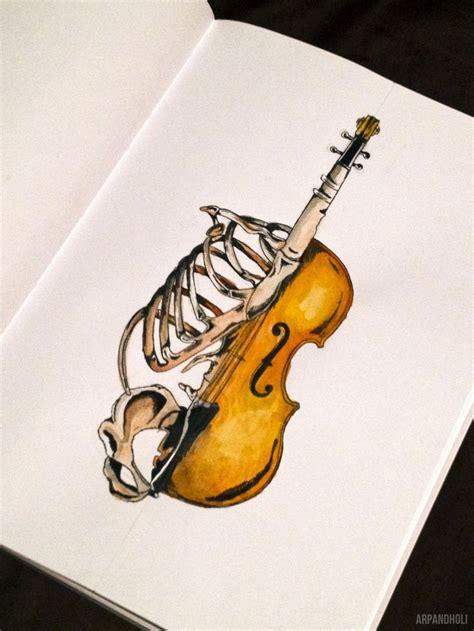 tattooed heart violin half skeleton and half cello violin instrument design