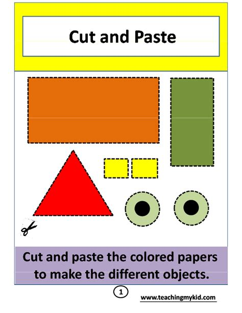 shape puzzle house b w easy cut out the shapes and cut and paste activity worksheets