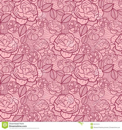 pattern pink light red line art flowers seamless pattern background stock