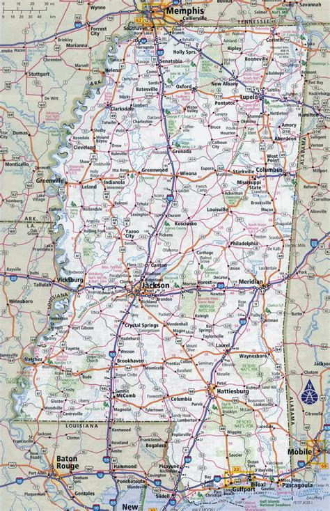 map of usa mississippi large detailed roads and highways map of mississippi state