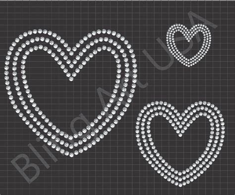 heart rhinestone files templates pattern bling love svg