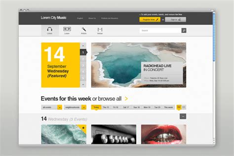 net layout event user interface design for an event and music website by