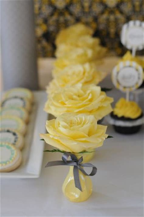 yellow and gray baby shower centerpieces yellow gray baby shower ideas yellow roses grey and sprinkles