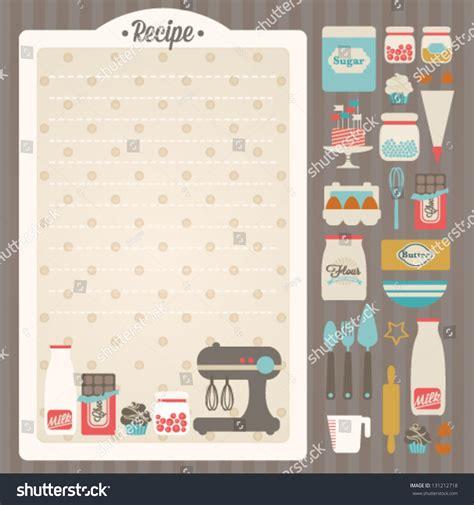 recipe card design template sweet recipe vector card template kitchen stock vector