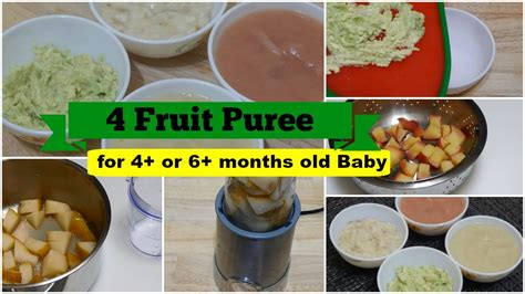 fruit 5 month baby 4 fruit puree for 4 or 6 months baby l healthy baby food