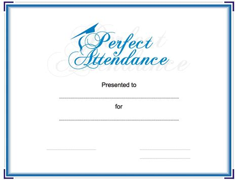 employee perfect attendance certificate template free