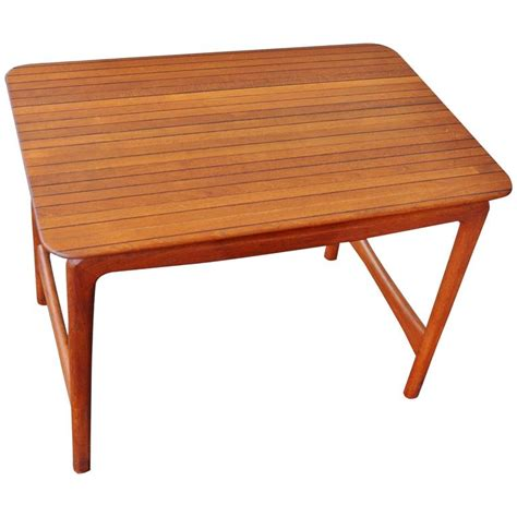 Floating Side Table Solid Teak And Rosewood Mosaic Top Floating Side Table Hvidt For F D For Sale At 1stdibs