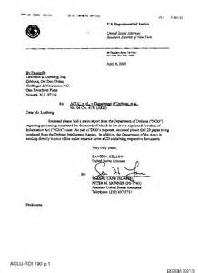 Dod Cover Letter by Doj Document Production Cover Letter Aclu V Dod No 1 04 Cv 4151 Akh April 6 2005 Www