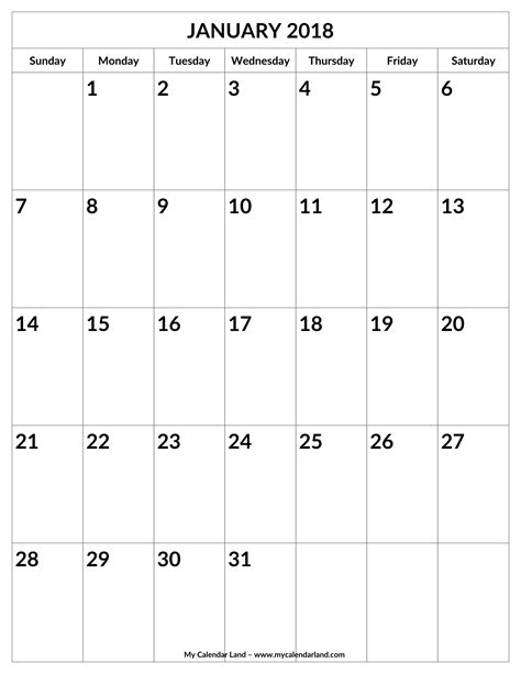 25 blank printable january 2018 calendar free templates