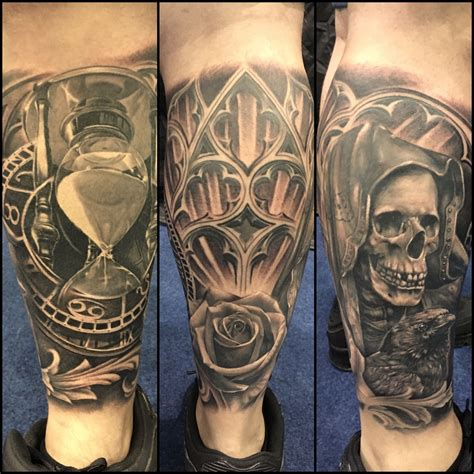 award winning tattoos award winning leg sleeve black and grey hourglass skull