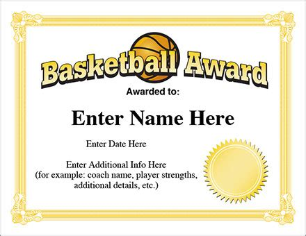 basketball certificate templates basketball award template hoops certificates