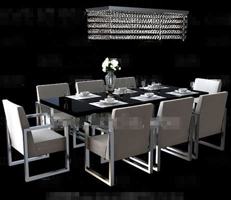 long black dining table combination  model downloadfree