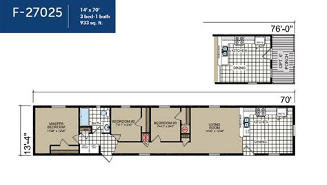 14x70 mobile home floor plan single wide ranch f27025 ridge crest home sales