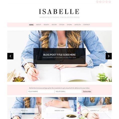Feminine Wordpress Themes Bluchic Chic Website Templates