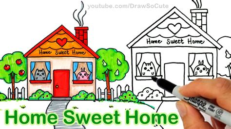 home so how to draw a cartoon house cute step by step home sweet