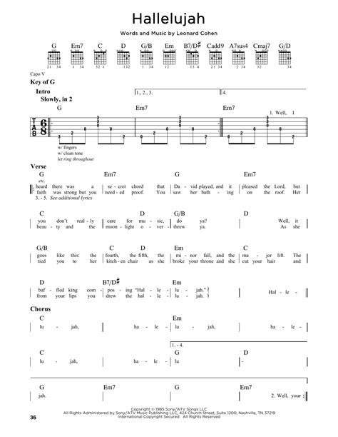 printable lyrics hallelujah hallelujah sheet music by leonard cohen guitar lead sheet