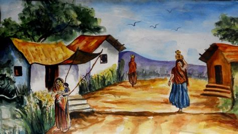 painting workshop scenery paint and watercolour on paper paintings by madhulika