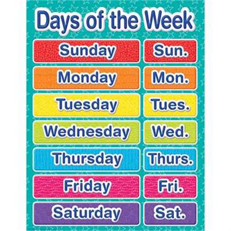 color of the day color my world days of the week chart eureka school