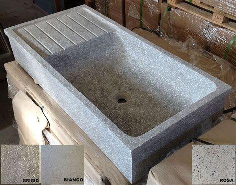 lavello in cemento lavandino in graniglia di marmo e cemento levigato cm